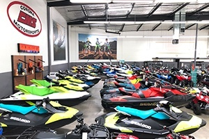 Colorful watercraft are arranged in rows.